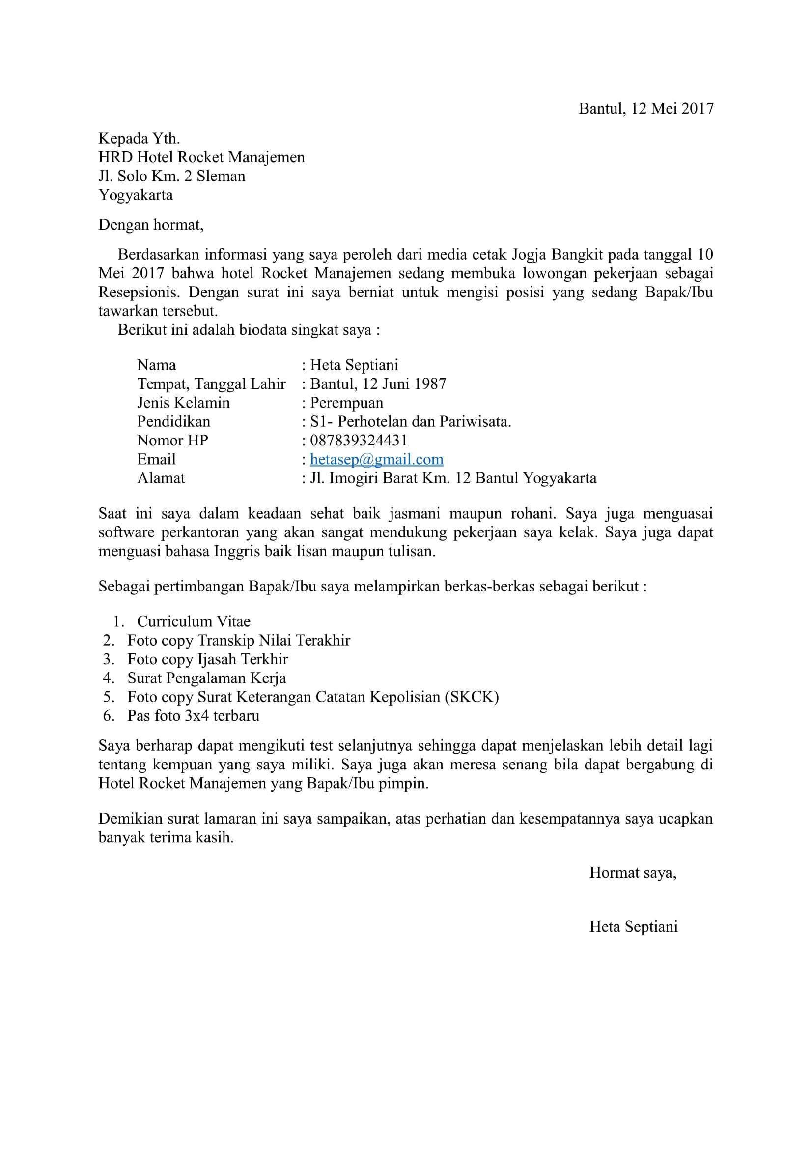 Contoh Surat Lamaran Kerja di Hotel